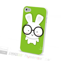 Cheap and cute rabbit customized back cover case for iphone 4