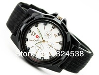2013 HOT sale Luxury Analog new fashion TRENDY SPORT MILITARY STYLE WRIST WATCH for MEN SWISS ARMY quartz watch,BLACK/WHITE