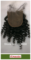 New 100% Virign Brazilian Hair lace top closure hair attachment Natural Color Curly ,Body Wave Free shipping