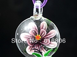 Baroque Glass gold foil elegant jewelry charms Lampwork Mura pendant Necklace 1pcs violet flower(China (Mainland))
