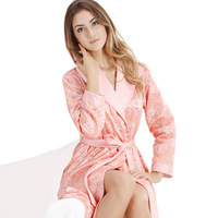 Women's sleepwear wire coral fleece long-sleeve print luxurious and noble lounge 0053