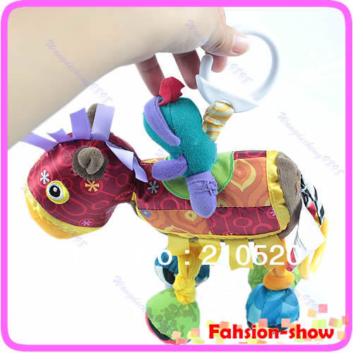 Free Shipping Pram Cot Pony Horse Baby Toy Shake Sounds Early Development Mentality Colorful Toys(China (Mainland))