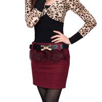 2012 autumn and winter female skirt woolen bust skirt fur step skirt slim hip tailored skirt plus size short skirt