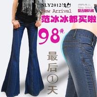 2014 Butt-lifting boot cut women's loudspeakers jeans flare trousers wide leg pants boot cut women jeans pants free shipping