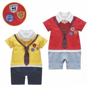 6pcs/lot baby boy tie romper kids suit Little gentleman romper short sleeve romper size  80-90-95