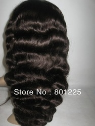 "(Gift + Free Shipping ) 100% indian remy hair full lace wig 16"" 2# deep body wave,natural hairline(China (Mainland))"