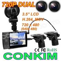 "S3000A Dual Lens Car DVR Black Box HD720P Dual Front + Rear View Camera +3.5"" LED Screen+H.264 Video  Motion Dection Vehicle DVR"