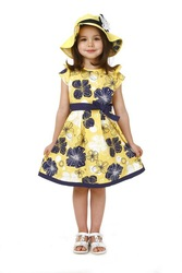 New Girl dress/ Teenage dress for about 5-14 years children/ Yellow dress with bowknot and floral-print(China (Mainland))