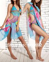 Free Shipping New Women Sexy Chiffon Swimsuit Pareo Beach Cover up Sheer Sarong Swimwear Scarf Y05