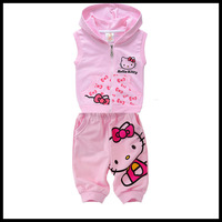 01-003 2013 new hello kitty cotton baby summer clothes suit for children boys and girls baby summer clothes HOT