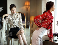Fashion Women's Ruffle Front high neck polka dot Print Top Shirt Blouse