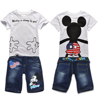 Free shipping! Wholesale 2013 Summer Children/ Kids/ Boy Mickey mouse Sport suit(short sleeve T-shirt+denim pants)2pcs set