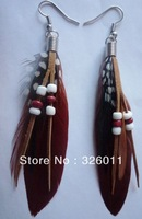 2013 New style Hand-made Hot Selling High Quality Free Shipping Feather Earrings Colorful Nature Feather Earrings