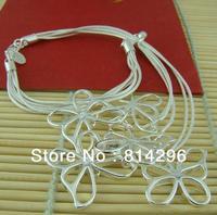 Free  shipping    925 silver ornament female five flower butterfly of love bracelet