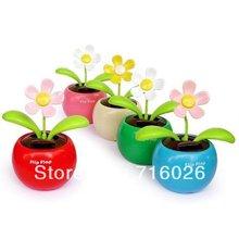 Solar Powered Swing Solar Flower,Magic Cute Flip Flap , Plant Swing Solar Toy Free Shipping(China (Mainland))