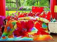 2013 New Beautiful 4PC 100% Cotton Comforter Duvet Doona Cover Sets FULL / QUEEN / KING SIZE bedding set 4pcs colorful flower AP
