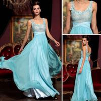 Free Shipping 2013 DORISQUEEN handmade flower Spaghetti strap sky blue prom dress 30775