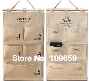 Free shipping Updated version pure hemp big hang bag,storage hang bag,waterproof wall hanging with nail,retail&wholesale,CY-ST09
