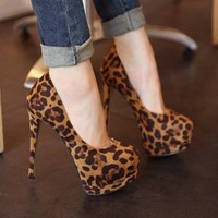 free shipping new style super high heels lady's fashion sexy Leopard platform shoes party pumps eur size 35-39 S029
