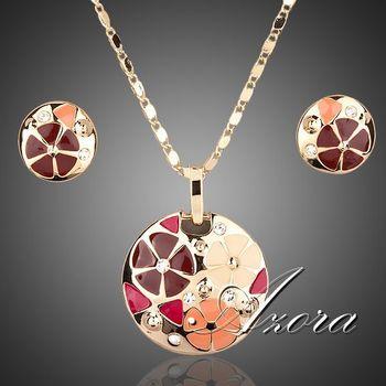 Азора 18 К настоящее позолоченные многоцветный цветочного дизайна стад серьги и кулон ожерелье ювелирные изделия устанавливает TG0004