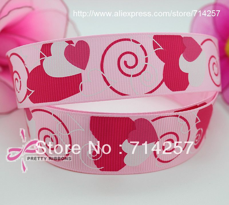 hot 1'' Free shipping big love heart printed grosgrain valentine ribbon bow diy party decoration custom wholesale 25mm P361(China (Mainland))