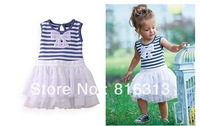 5pcs/lot 2013 cute baby girl's sleeveless stripe summer dress with bow + Free shipping