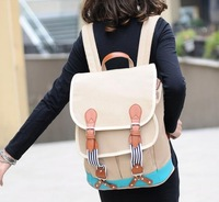 2013 cute canvas backpacks, pu leather handle leisure bags, fashion sports packsack, casual daliy unisex rucksacks