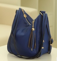 Hot! Free Shipping Fashion Women's  Tassel Fringed Messenger Bag  blue  color