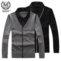 Mojay men's clothing turn-down collar faux two piece male thin sweater sweater
