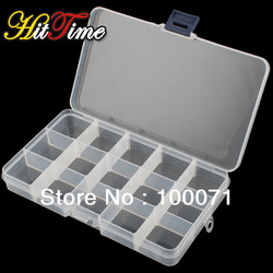 Adjustable 15 Compartment Plastic Clear Storage Box for Jewelry Earring Tool Container [22870|01|01](China (Mainland))