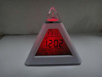 1lot=10pcs Free shipping Color LED Digital Alarm Clock 7 changeable color LED Pyramid Clock alarm clock