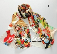 New silk satin digital inkjet peony silk scarf / silk scarf shawl manufacturers direct 175*52cm + discount shipping