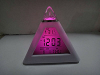 1lot=15pcs 7-colours changing Triangle Pyramid music Digital LED Alarm Clock Digital LCD lovely Thermometer  #001