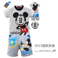 2013 NEW children's  Summer clothing kids short-sleeves Cartoon tops tee +character pants 2 pcs set DTZ8814