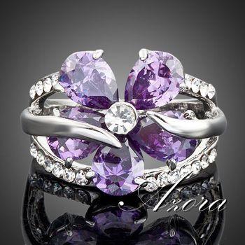 Platinum Plated SWA ELEMENTS Austrian Crystal Purple Flower Design Cubic Zirconia ...