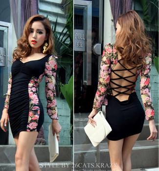 Charming Floral Print Sleeve,Leopard Sleeve Flare Sleeve Padded Bra Cups Sheath Tiered Dress,Lady Sexy Club Mini Dress