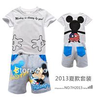 2013 NEW children's  Summer clothing kids Cartoon t shirt shirts t-shirt t-shirts +character pants 2 pcs set DTZ8813