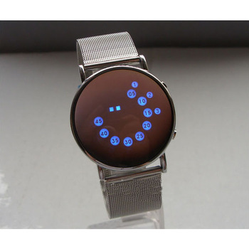 1/2 Color Flash LED Mirror Time Date Men's Casual/Sport Watch Wristwatch H0337 P
