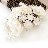 Free shipping! bridal ribbon pearl flower fat plug rhinestone  wedding hair accessory hair ornament gift, QXL036