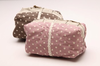 free shipping Pink dot 1980s cosmetic bag ruffle laciness zipper hemp coin purse miscellaneously storage bag
