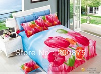 100% Cotton Free Shipping--wholesale--Charming Flowers  oil painting bedding set /bed linen / 4pcs bed sheet/comforter set