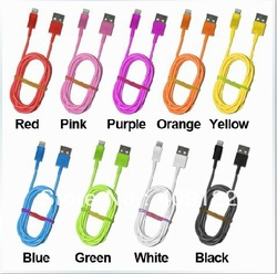 Free shipping CN 5pcs/lot Colorful USB Cable For IPhone 5 IPad Mini IPod Touch 5 Nano 7 Data Sync Charger 8Pin,best price item(China (Mainland))