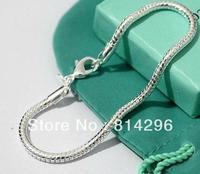 Free  shipping   925  silver jewelry male round snake bracelet