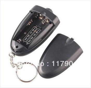 250pcs/lot # Keychain Digital Breathalyzer Alcohol Analyzer Breath Tester LED Flashligh Key chain