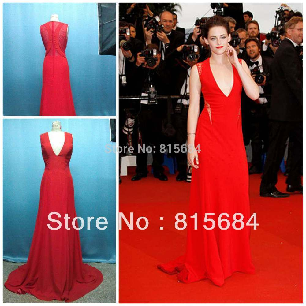 Kristen Stewart Red Carpet V neck Sheath Brush Chiffon Sexy Long evening dresses Hot sale Prom dress(China (Mainland))