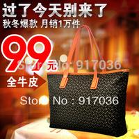 2014 Fashion leather women's handbag portable leather check shoulder bag
