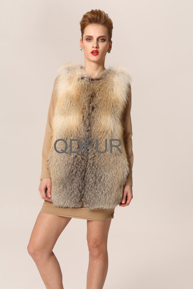 Real Fox Fur Vest 2013 New Arrival Gilet Long Design Size:S,M,L WholeSale Price OEM Retail QD23523(China (Mainland))