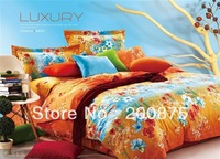 100% Cotton Free Shipping--wholesale--Shadow blossom oil painting bedding set /bed linen / 4pcs bed sheet/comforter set