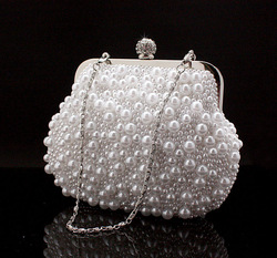 Lady's Luxurious Pearl Evening Bag Fashion Embroidery Beads Clutch Handbags with Chain Clutch Purse NO7534 Free Shipping(China (Mainland))