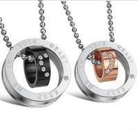 Love Set Auger Titanium Steel Couples Necklace 1 pair